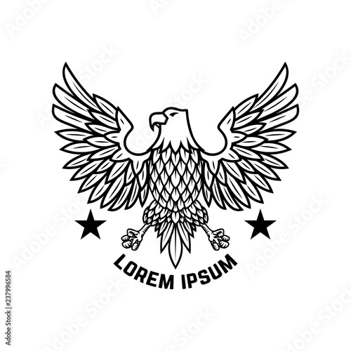 Emblem template with eagle in engraving style Wallpaper Mural
