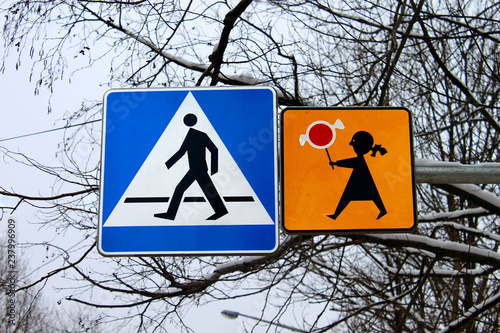 Pedestrian sign in Zakopane, Poland. It indicates that children can cross the road