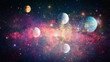 canvas print picture - Stars of a planet and galaxy in a free space. Elements of this image furnished by NASA .