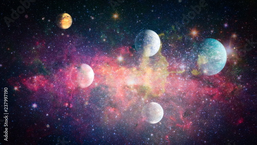 Obraz Stars of a planet and galaxy in a free space. Elements of this image furnished by NASA . - fototapety do salonu