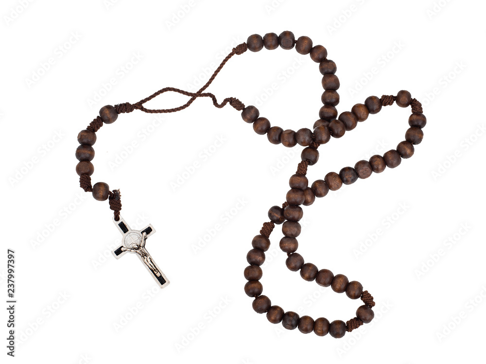 Fototapety, obrazy: Rosary isolated on white background. Christian cross, crucifix, wooden beads.