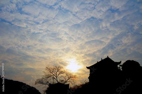 Foto op Canvas Zwart Sunrise at Fenghuang ancient town, Hunan province China