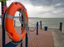 Lifebuoy On Pier. Lake Balaton. Keszthely, Hungary.