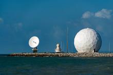 Sphere Radar On Blue Sky