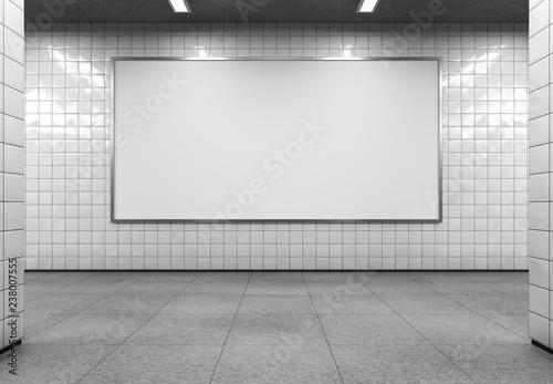 Blank horizontal billboard on the metro station. 3D rendering.