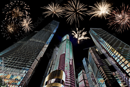 Fireworks over Moscow skyscrapers, Russia