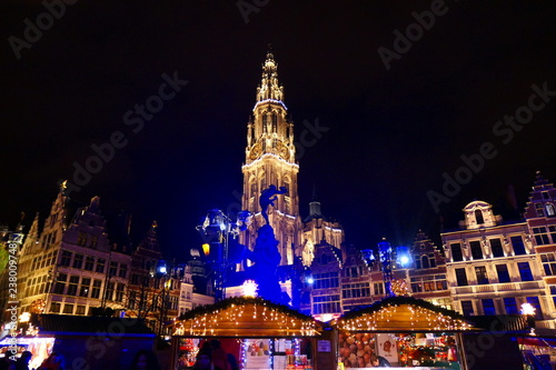 Fototapeta Antwerp Christmas kerstmarkt schaatsbaan December 2019 obraz na płótnie