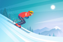 Skiing In The Mountains. Vector Illustration In Trendy Flat Style With Skier In Red Sports Suit, Skiing Downhill On The Snow Mountains Landscape Background.