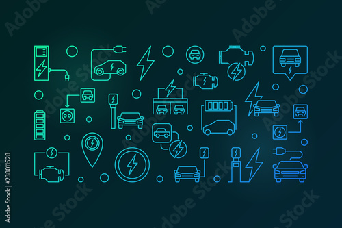 Battery electric vehicle vector outline colorful horizontal banner or illustration on dark background