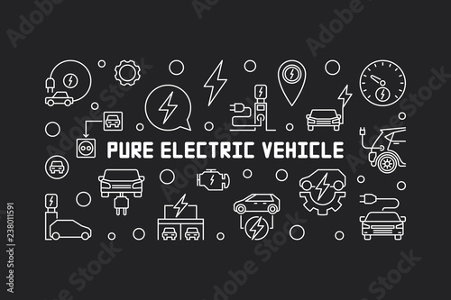 Fotografía  Pure electric vehicle horizontal banner or illustration in outline style
