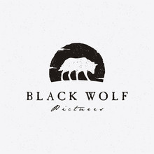 Rustic Hipster Silhouette Wolf For Movie  Production Logo