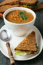 Lentil Soup With Sandwiches.