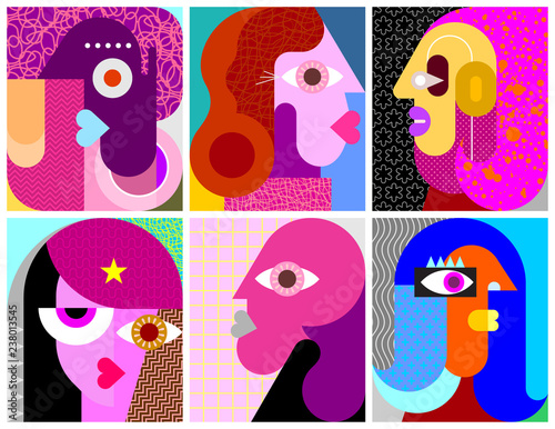 La pose en embrasure Art abstrait Six Portraits vector illustration