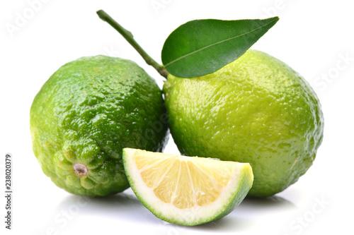 Lime fruit on white background