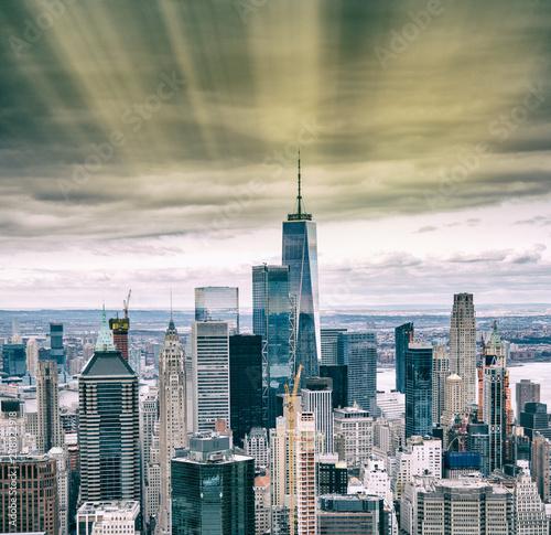 Papiers peints Lieux connus d Amérique Helicopter view of Downtown Manhattan skyscrapers, New York City