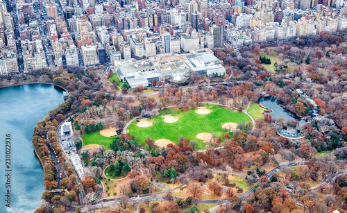 Metropolitan Museum Of Art and Central Park aerial view in autumn, New York City Wallpaper Mural