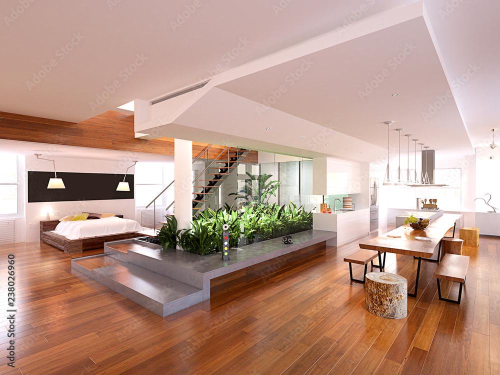 Fototapety, obrazy: 3d render of modern luxury house interior
