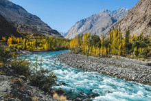 Autumn Scene, Blue Turquoise Water Of Gilgit River Flowing Through Gupis, Ghizer, Gilgit-Baltistan, Pakistan.