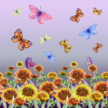 Beautiful Coreopsis Flowers And Flying Butterflies On Gradient Background. Seamless Floral Pattern. Watercolor Painting. Hand Drawn And Painted Illustration.