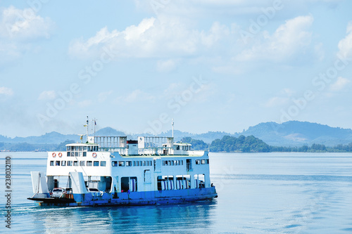 Canvas Print Ferry goes by sea