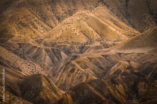 Fototapeta View of desert Mountain of Dead Sea mountains at Jericho, Palestine