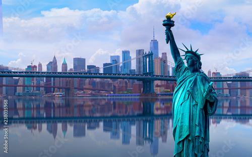 Fotografie, Tablou skyline cityscape, Landmarks of New York City, USA