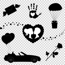 Vector Love Icons Set Of 7 Valentine Silhouette Signs Isolated