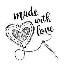 Vector Illustration With Sewing Heart And Lettering