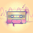 Audio cassette funky modern music design