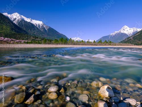Foto auf AluDibond Blau türkis View from Tibet (China)