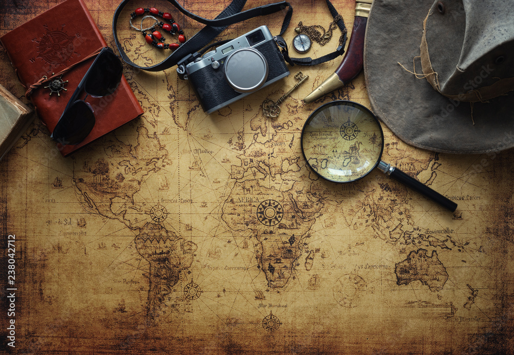Fototapety, obrazy: old map and vintage travel equipment / Travel concept