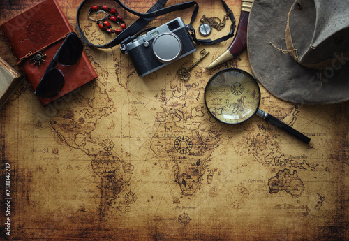 old map and vintage travel equipment / Travel concept Fototapet