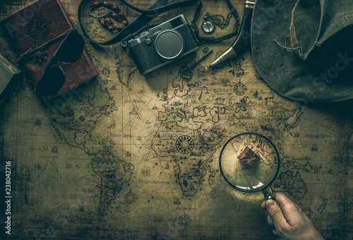 Fototapeta old map and vintage travel equipment / expedition concept or treasure hunt