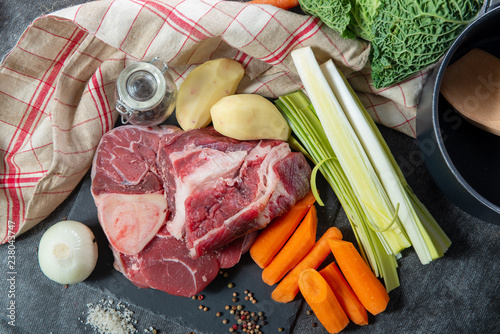 meat and vegetables for preparation of french pot au feu Canvas Print