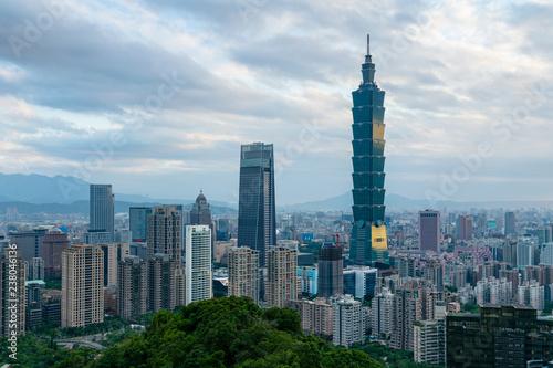Foto op Plexiglas Stad gebouw Taipei city central business downtown skyline, cityscape background