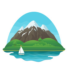 Three Snowy Mountains With Green Hills, Lush Trees And Bushes, Lake, Sailboat And Blue Sky On A White Background.