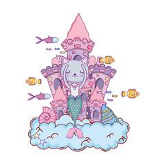cute purrmaid with castle undersea