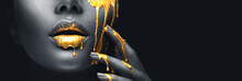 Golden Paint Smudges Drips Fro...