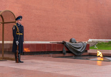 Military Guard And The Eternal Flame At Tomb Of Unknown Soldier, Moscow, Russia