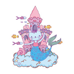cute purrmaid with castle undersea