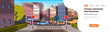 city street building urban traffic cars on road downtown early morning sunrise horizontal banner copy space flat