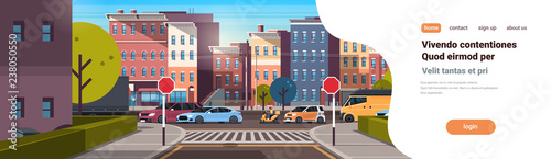 Spoed Foto op Canvas Cartoon cars city street building urban traffic cars on road downtown early morning sunrise horizontal banner copy space flat