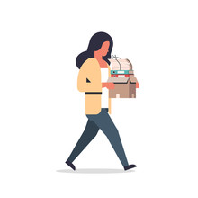 Busy Businesswoman Carrying Paper Box Stack Of Documents Overloaded Business Woman Office Worker Going Female Cartoon Character Full Length Flat Isolated