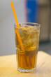 Cold fresh ice tea with lemon
