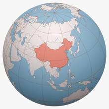 China On The Globe. Earth Hemi...