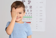 Cute Little Boy Visiting Children's Doctor, Space For Text. Eye Examination