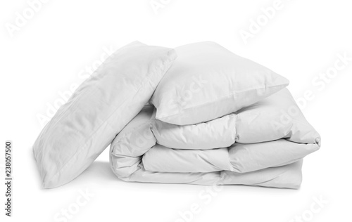 Obraz Clean blanket and pillows on white background - fototapety do salonu