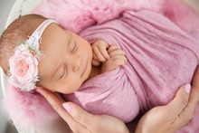 Cute Newborn Baby Girl With Her Mother, Closeup