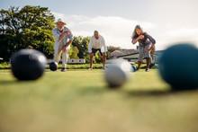 Senior People Playing Boules I...