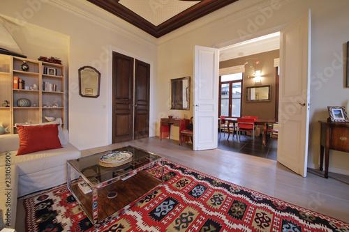 salon appartement ancien rénové hauts plafonds - Buy this stock ...